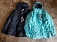 Nwt Womens Zeroxposur Black Wave Green Mint Parka Coat 3 in 1 Puffer S 2XL M