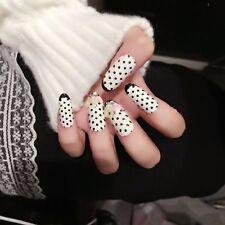 White with Black Tip + Polka Dot 3d  LONG OVAL Full Cover False Fake Nails