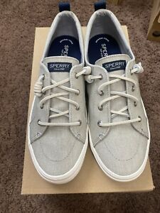Sperry Gray Canvas Sneakers Crest Vibe Washed Linen MEMORY FOAM Size 10 NEW
