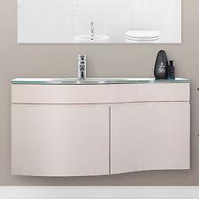 Mobile bagno sospeso moderno stondato 100 cm laccato lucido con lavabo in vetro