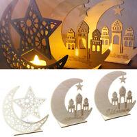 LED Wooden Eid Mubarak Plaque Moon Star Ramadan Ornament Muslim Decor Pendant