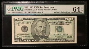 1996 $50 FEDERAL RESERVE NOTE ERROR FULL OFFSET PMG 64EPQ *RARE BIG HEAD ERROR!
