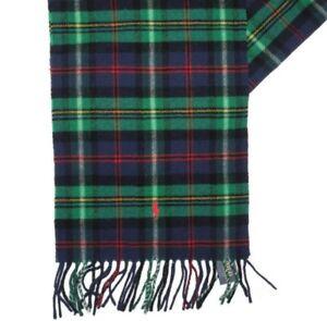 Polo Ralph Lauren Green & Navy plaid Virgin Wool winter Scarf with pony logo nwt
