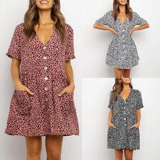 Women Summer V Neck Smock Mini Dress Ladies Casual Leopard Print Loose Long Tops