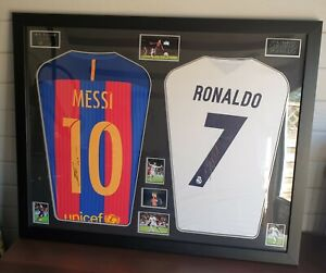 Lionel Messi and Cristiano Ronaldo Signed Shirts Framed