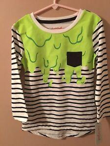 Cat & Jack Halloween Nickelodeon Slime Top S 6/6X Striped Long Sleeve NEW