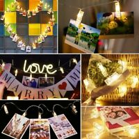 50 LED Card Photo Clip String Fairy Lights Battery Christmas Party Wedding Xmas