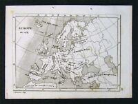 c. 1835 Levasseur Map - Europe in 1074 - Mideveal Empires Turks France Spain