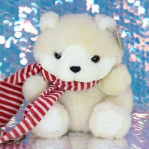 """HEARTWARMERS Cream Teddy Bear 9"""" Plush Stuffed Animal Tag 1993 Red Scarf BG044"""