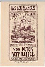 ancien ex-libris von peter altfillisch (hanns friedmann) voilier