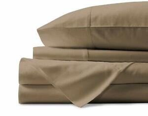 3PCs Fitted Set Extra PKT Ultra-Plush Egyptian Cotton 1000 TC Taupe Solid
