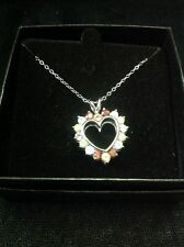 DOUBLE SIDED QVC 925 sterling Silver Multi Gemstone Heart Pendant Necklace chain