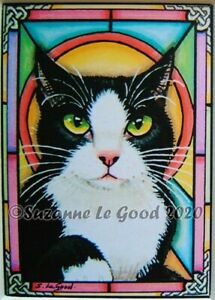 Black & white cat ACEO mounted print from original painting by Suzanne Le Good