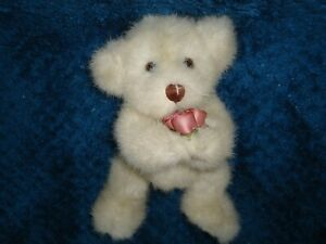 "7"" Jointed Cream Colored Plush Teddy Bear Holding Mauve Roses #1314"