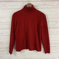 Vtg Lauren Ralph Lauren Merino Wool Cotton Turtleneck Sweater Womens Lg Red L/S