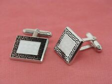 Sterling Silver Nicole Barr Black and White Greek Key Cuff Links