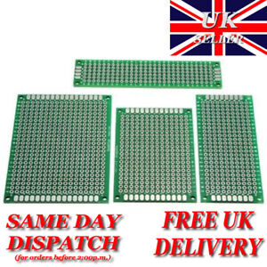 Double Sided Prototype PCB Printed Circuit Board FR-4 2.54mm - UK Stock