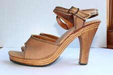 c51d715f0262 Boho retro Vintage Women s brown wood clogs ankle strap platform heels size  7 B