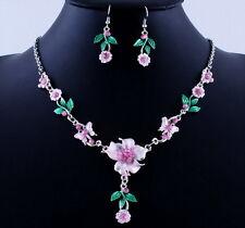 pink new Amazing acrylic Women flower wedding necklace earrings set gift 2017