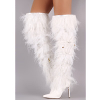 786d1c18366d Liliana CAMPBELL White Thigh High Pointed Toe Feather Fringe Stiletto Heel  Boot