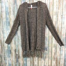 No Boundaries Women's 7-9 Medium Brown Beige Acrylic Cardigan Sweater With Hood