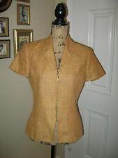 LINDA ALLARD ELLEN TRACY Summer Linen Zipper Blouse ~ SZ 8