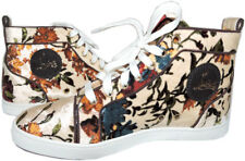 Christian Louboutin Terciopelo Floral Beige Sneakers Altas Zapato bajo 38.5- 8