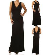 LD8 New Womens Size 14/16 Black Elegant Full Length Evening Stretch Dress Plus