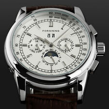 3 Dials Automatic Mechanical Men's Watch Silver Hands Leather Strap White Dial