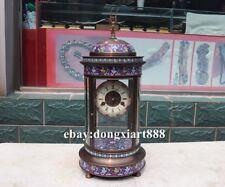 European Retro Bronze cloisonne Wing Orcish Mechanical clockwork Clock Timepiece