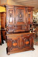 French Antique Walnut Henry II Buffet / Sideboard Cabinet with Hutch