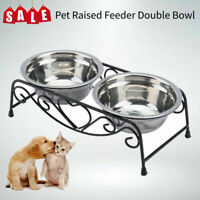 Elevated Raised Pet Dog Feeder Stainless Steel Double Bowl Food Water for dog US