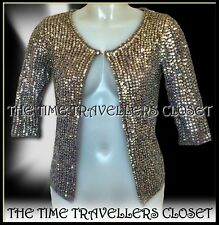KATE MOSS TOPSHOP SILVER SEQUIN GREY CROCHET CARDIGAN JACKET FULLY LINED UK4 6 8