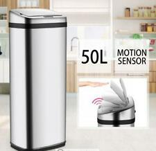 50L LCD Silver Chrome Sensor Operated Touch Less Dust Bin Cleaning Supplies