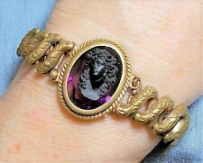 Antique Black Jet Cameo Sweetheart Expansion Bracelet Face Forward Tendrils