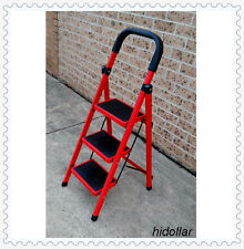 STEEL FRAME 3 WIDE TREAD STEP LADDER 112cm RUBBER GRIP FOLDABLE THREE STEP