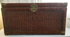 """Vintage WICKER Rattan Chest Steamer Trunk Oriental Brass Hardware  32""""L x 16""""W"""