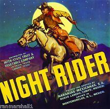 La Feria Laredo Texas Night Rider Cowboy Orange Citrus Fruit Crate Label Print