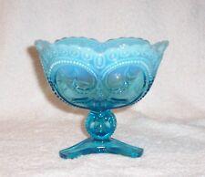 Jefferson Glass Tri Footed Compote Beaded Fleur De Lis Blue Opalescent 1906