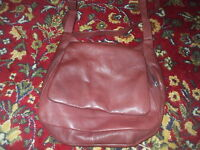 WILSON'S LEATHER SOFT BURGUNDY LEATHER SHOULDER BAG WITH LOTS OF POCKETS
