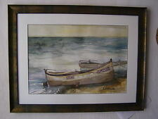 "WATERCOLOR  ART -  Seascape - ""Fishing Boats"""