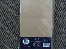 CRAFTSTYLE 10 X KRAFT BROWN SQUARE  CARDS AND WHITE 6X6 ENVELOPES