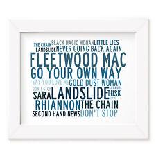 Fleetwood Mac Poster Print - Anthology - Lyrics Gift Signed Art