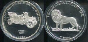 2002 Congo Large Silver Proof 10 Francs-Auto History-Berliet 1908/Lion