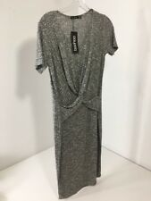 WOMENS BOOHOO MIREILLE KNOT FRONT KNITTED MIDI DRESS GREY US 10 UK 14 NWT
