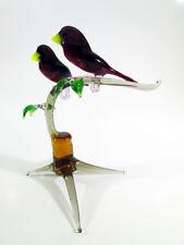 Crossbill Figurine Birds on branch Blown Glass Handmade Loving Couple #42