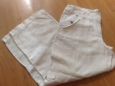 IMMACULATE PAIR WHITE LINEN SUMMER CARGO  TROUSERS by CHEROKEE SIZE UK 14