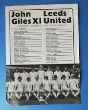 John Giles XI v Leeds Utd, 22/10/1975 - John Giles' Testimonial Team Sheet