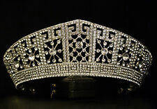 Dichiarazione Vintage Silver Imperial Royal Crystal Crown Tiara-Da Cerimonia