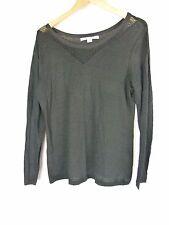LAURA ASHLEY Top/Blouse Sz M,10,12 Black Linen